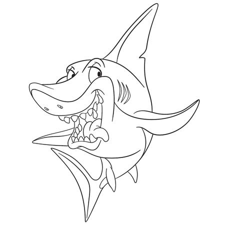 predatory: dangerous and cunning predatory cartoon shark is ready to attack.