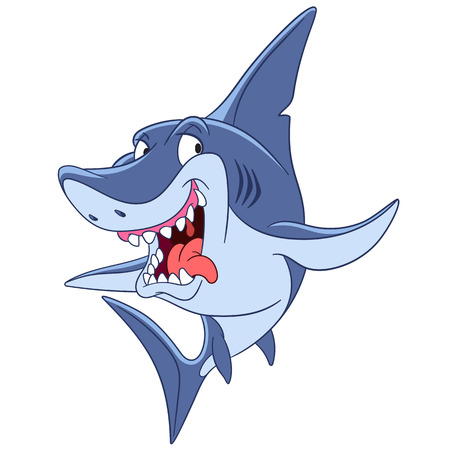 cunning: dangerous and cunning predatory cartoon shark is ready to attack.