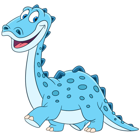 diplodocus: cute and happy young cartoon dinosaur diplodocus, isolated on a white background Illustration