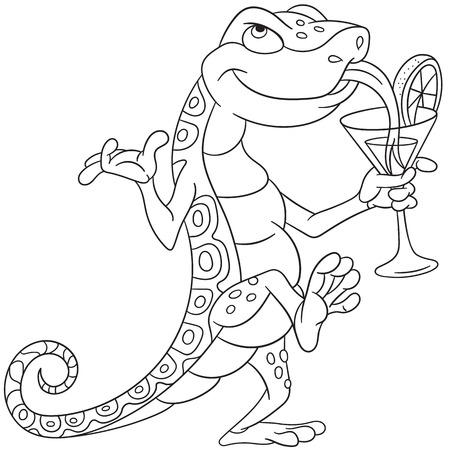 baile caricatura: bailando lagarto de dibujos animados lindo y beber un cóctel en una fiesta de discoteca en discoteca o bar-cafetería. Vectores