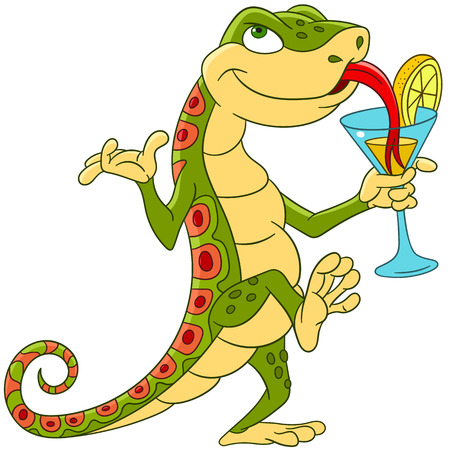 cute cartoon lizard dancing and drinking a cocktail on a disco party in night club or cafe-bar.