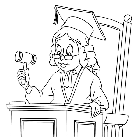 arbitration: cute cartoon judge with a judge gavel in a hat and judge wig.