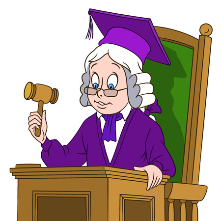 kid illustration: cute cartoon judge with a judge gavel in a hat and judge wig.