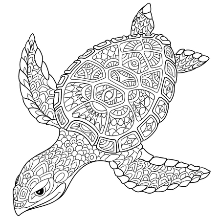 antistress: cartoon turtle, isolated on white background. Hand drawn sketch for adult antistress coloring page, T-shirt emblem, or tattoo with doodle, floral design elements.