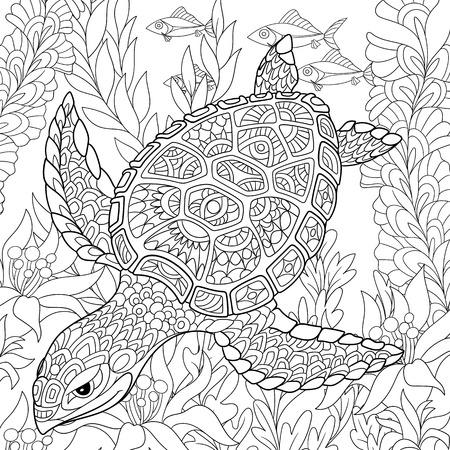 cartoon schildpad zwemmen onder zee algen. Hand getrokken schets voor volwassen antistress kleurplaat, T-shirt embleem, of tatoeage met krabbel, bloemen ontwerp elementen.