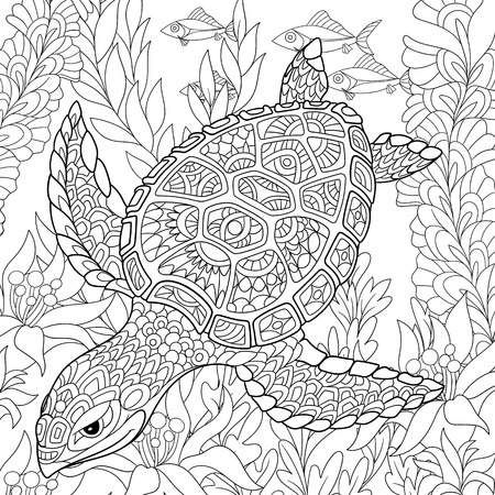 cartoon turtle swimming among sea algae. Hand drawn sketch for adult antistress coloring page, T-shirt emblem, or tattoo with doodle, floral design elements.