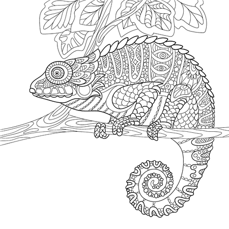cartoon chameleon, isolated on white background. Hand drawn sketch for adult antistress coloring page, T-shirt emblem, or tattoo with doodle, floral design elements.