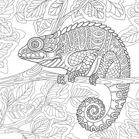 cartoon chameleon sitting on a tree branch. Hand drawn sketch for adult antistress coloring page, T-shirt emblem, or tattoo with doodle, floral design elements.