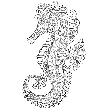 horse fish: cartoon seahorse, isolated on white background. Hand drawn sketch for adult antistress coloring page, T-shirt emblem, or tattoo with doodle, floral design elements.
