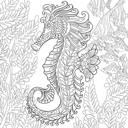 exotic fish: cartoon seahorse and tropical fish among seaweed. Hand drawn sketch for adult antistress coloring page, T-shirt emblem, or tattoo with doodle, floral design elements.