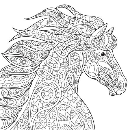 dibujos para colorear: caballo de la historieta (Mustang), aislado en fondo blanco. Bosquejo a mano de la página de adultos antiestrés para colorear, camiseta emblema, o un tatuaje con garabato, elementos de diseño.