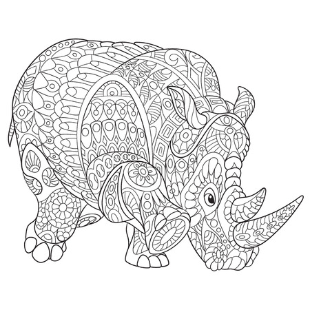 cartoon rhino (rhinoceros), isolated on white background. Hand drawn sketch for adult antistress coloring page, T-shirt emblem, or tattoo with doodle design elements Vectores