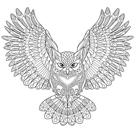 흰색 배경에 격리 된 만화 독수리 올빼미. 낙서 성인 안티 스트레스 색칠 페이지, T 셔츠 상징, 또는 문신, 꽃 무늬 디자인 요소 손으로 그린 스케치