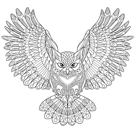 antistress: cartoon eagle owl, isolated on white background. Hand drawn sketch for adult antistress coloring page, T-shirt emblem, or tattoo with doodle, floral design elements.