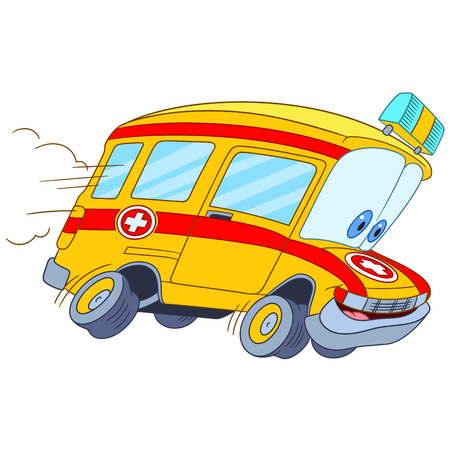 cross street with care: cute and funny childish cartoon ambulance car, stylized with human face for kids.