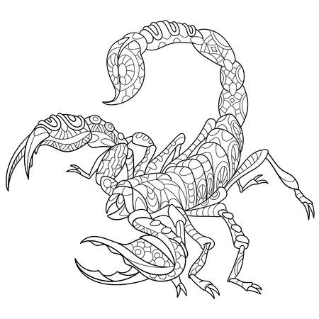 gestileerde cartoon schorpioen - sterrenbeeld in horoscoop.