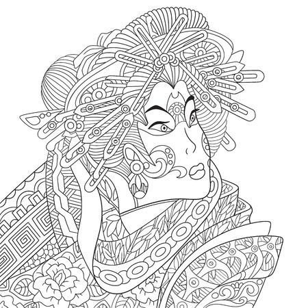 stylized cartoon geisha woman (japanese dancing actress)