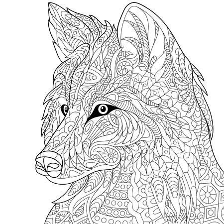 dibujos para colorear: lobo de la historieta estilizada, aislado sobre fondo blanco. Bosquejo a mano de la página de adultos antiestrés para colorear, camiseta emblema, tatuaje con garabato, elementos de diseño floral.
