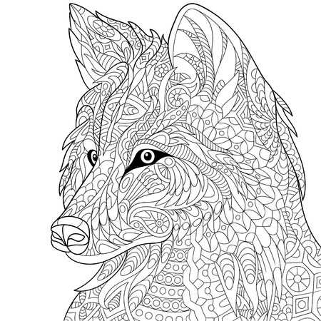 COLOURING: stylized cartoon wolf, isolated on white background. Hand drawn sketch for adult antistress coloring page, T-shirt emblem, tattoo with doodle, floral design elements.