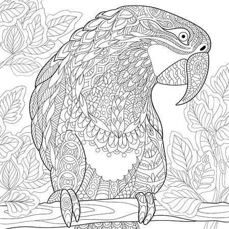 stylized cartoon parrot - macaw sitting on a tree branch among leaves. Hand drawn sketch for adult antistress coloring page, T-shirt emblem or tattoo with floral design elements.