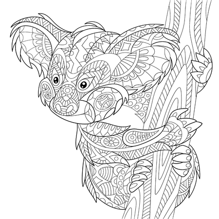 stylized cartoon koala bear, isolated on white background. Hand drawn sketch for adult antistress coloring page, T-shirt emblem or tattoo with doodle, floral design elements. Vectores