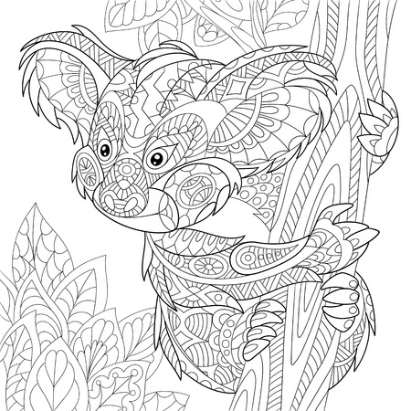 antistress: stylized cartoon koala bear sitting among tree leaves. Hand drawn sketch for adult antistress coloring page, T-shirt emblem or tattoo with doodle, floral design elements.