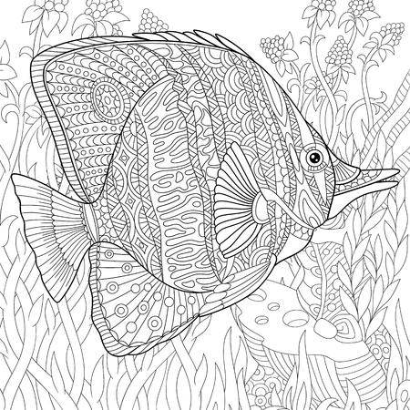stylized cartoon butterfly fish swimming among seaweed