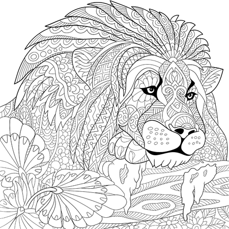 stylized cartoon lion (wild cat, leo zodiac)