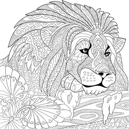 León de dibujos animados estilizada (gato salvaje, leo zodiaco) Vectores
