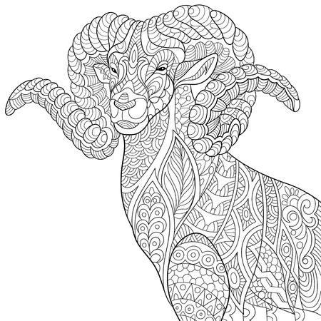 stylized cartoon goat (ram, ibex, aries or capricorn zodiac)