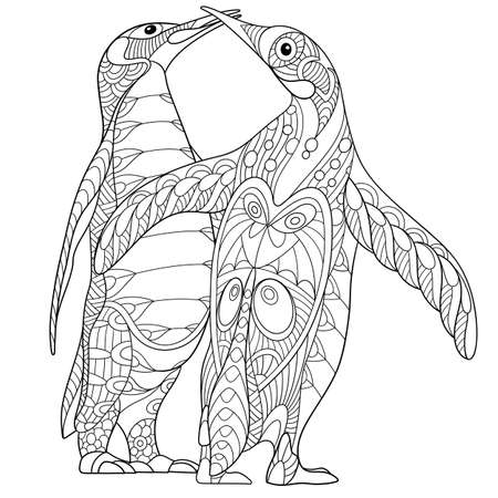 the totem pole: stylized two cartoon emperor penguins kissing and hugging Illustration