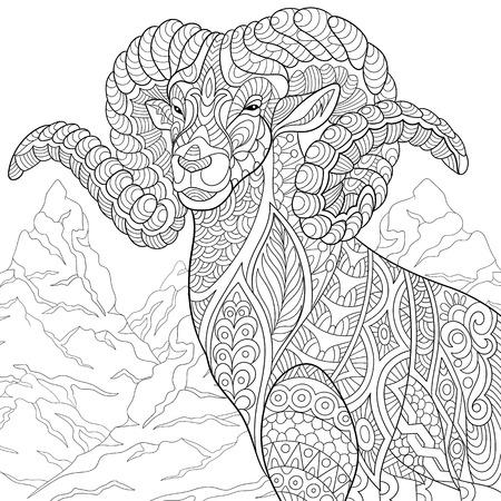 stylized cartoon goat (ram, ibex, aries or capricorn zodiac)