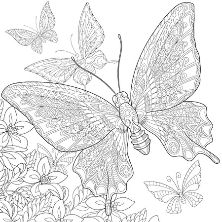 stylized five cartoon butterflies flying around flowers