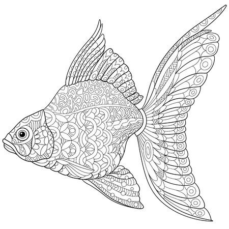 stylized cartoon goldfish, isolated on white background.
