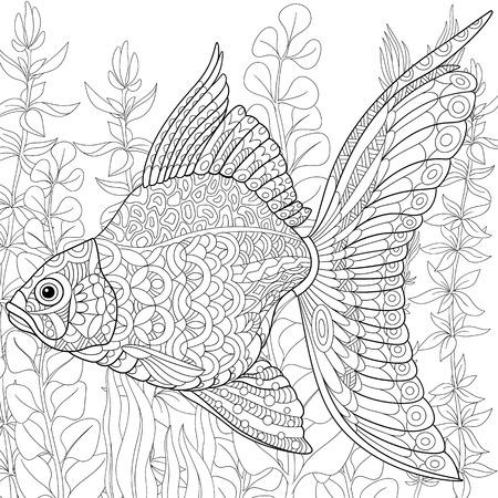 alga: stylized cartoon goldfish swimming among seaweed (alga).