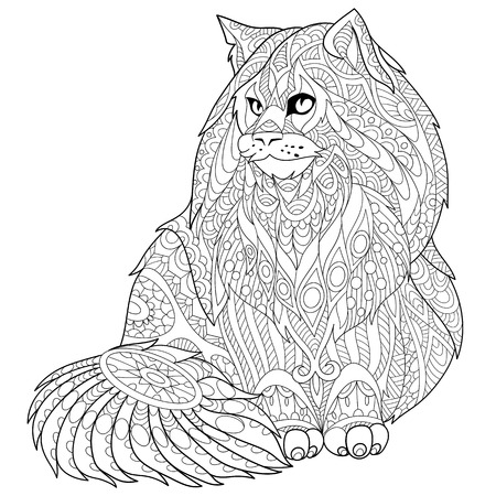 longhaired: stylized cartoon maine coon (american longhair) cat.