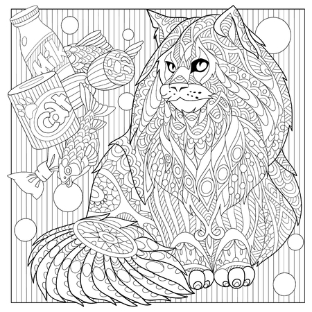 longhaired: stylized cartoon maine coon with cat food. Illustration