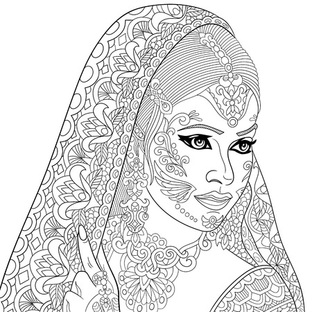 veiled: stylized cartoon indian woman, isolated on white background.