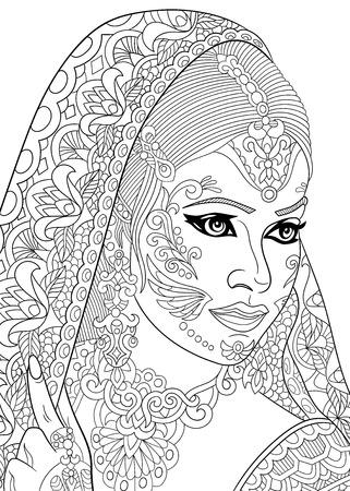 結婚式: stylized cartoon indian woman, isolated on white background.