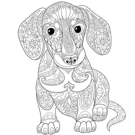predator: stylized cartoon dachshund dog, isolated on white background