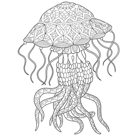stylized cartoon jellyfish, isolated on white background