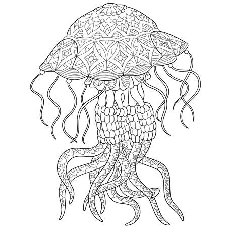 stylizowane meduzy kreskówki, na białym tle