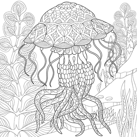 stylized cartoon jellyfish swimming among seaweed (alga).