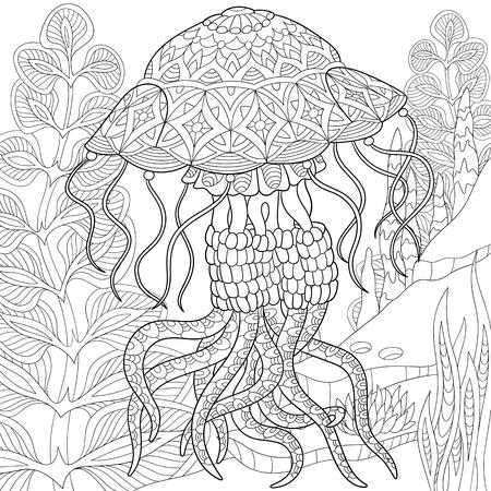gestileerde cartoon kwallen zwemmen tussen zeewier (algen).
