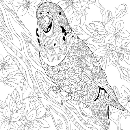 stylized cartoon budgie parrot among cherry blossom