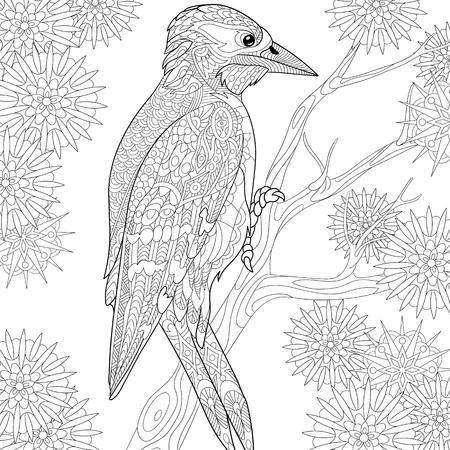 stylized cartoon woodpecker on tree branch among snowflakes Vettoriali