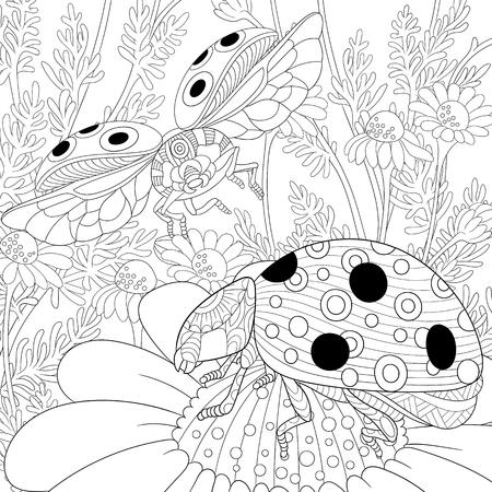 stylized cartoon flying ladybugs and daisy flowers