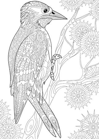 p�jaro carpintero: carpintero de dibujos animados estilizada en la rama de �rbol entre los copos de nieve Vectores