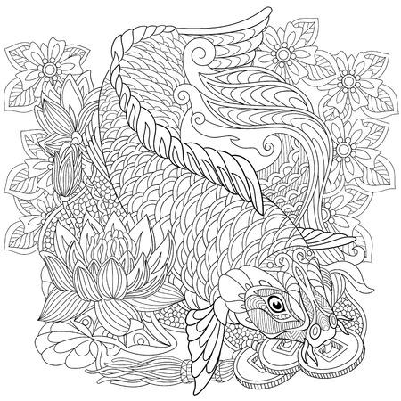 pez carpa: carpas koi estilizada de dibujos animados