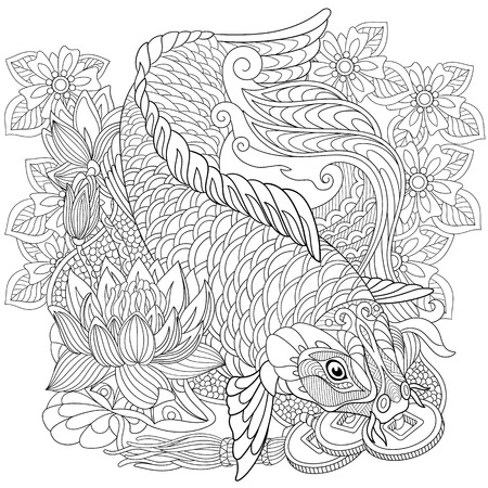 stylized cartoon koi carp Illustration